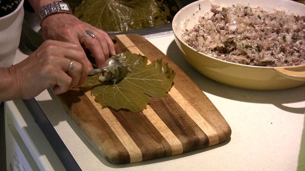 ... pan with the left over grape leaves place rolled grape leaves with the